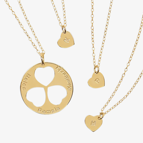 Personalized Family Necklace for Mom and Daughters in Gold over Silver