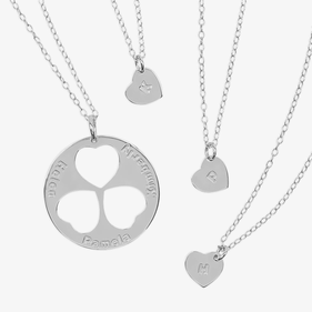 Personalized Family Necklace for Mom and Daughters in Sterling Silver