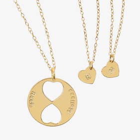 Personalized Family Necklace for Mom and Daughters (Set of Three Necklaces) in Gold over Silver