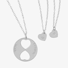Personalized Family Necklace for Mom and Daughters (Set of Three Necklaces) in Sterling Silver