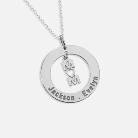 Personalized Family Necklace with Mom Heart Pendant