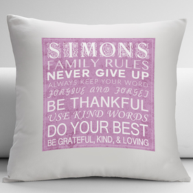 Personalized Family Rules Decorative Cushion Cover