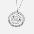 Sterling Silver Swarovski Birthstone Family Tree Necklace Personalized w/ Names