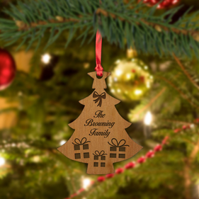 Personalized Family Wood Tree Ornament