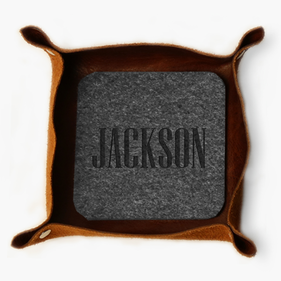 Personalized Felt Coasters in Leather Stash tray
