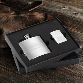 Personalized Flask and Lighter Gift Set