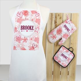 Personalized Floral 3-Piece Apron, Potholder and Oven Mitt Set