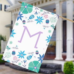 Personalized Floral Initial House Flag