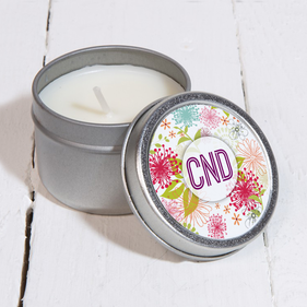 Personalized Flower Explosion Design Silver Metal Scented Candle
