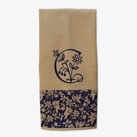 Personalized Flower Initial Kitchen Towel