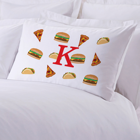 Personalized Junk Food Initial Pillow Case