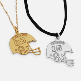 Sterling Silver Personalized Football Helmet Necklace with Name and Number