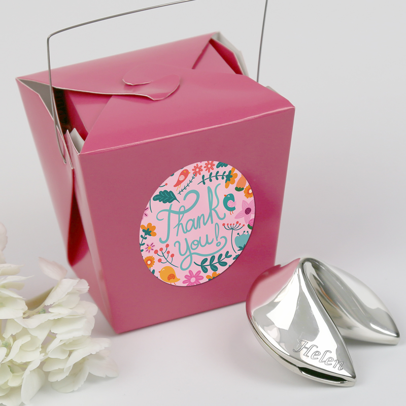 Custom Silver Polished Fortune Cookie Gift Thank You Note