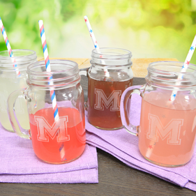 Personalized Four Piece Mason Jar Glass Set
