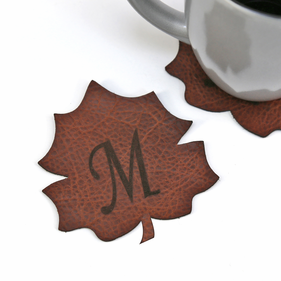 Personalized Genuine Leather Leaf Coasters