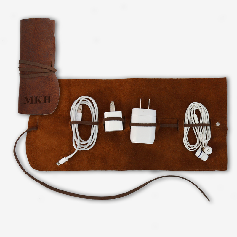 genuine leather multi cable large organizer