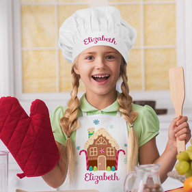 Personalized Gingerbread House Apron & Hat Set