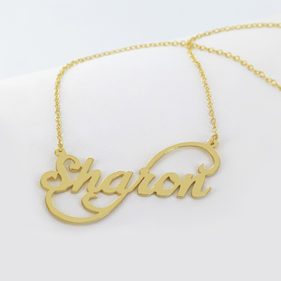 Personalized Gold over Silver Name Necklace