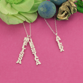 Personalized Gold over Silver Vertical Mini Name Necklace