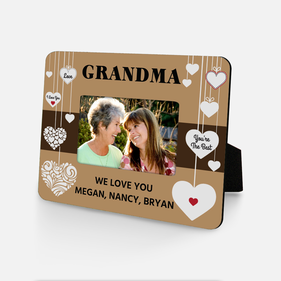 Personalized Grandma Hanging Hearts Picture Frame