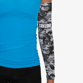 Personalized Grey Camo Sports Arm Sleeve