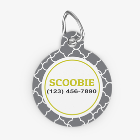 Personalized Grey Quatrefoil Design Round ID Dog Tag