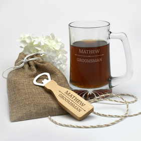 Personalized Groomsman Beer Mug And Bottle Opener Gift Set