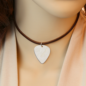 Personalized Silver Guitar Pick Charm w/ Genuine Leather Choker Necklace
