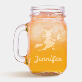 Personalized Halloween Broomstick Witch Mason Jar