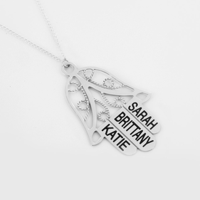 Personalized Hamsa Necklace in Sterling Silver