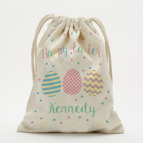 "Personalized Happy Easter Drawstring Sack<p><span style=""color:#ff0000;"">[SMALL SACK IS ON BACKORDER UNTIL 8/31/2017]"