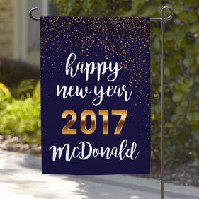 Personalized Happy New Year 2017 Garden Flag