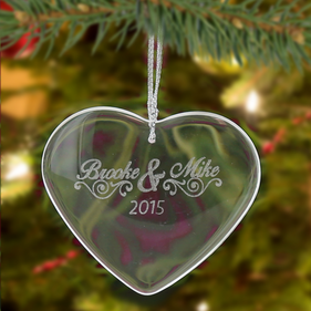 Personalized Crystal  Heart Christmas Ornament