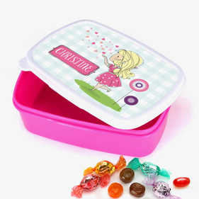 Personalized Heart Kisses Girls Plastic Lunch Box