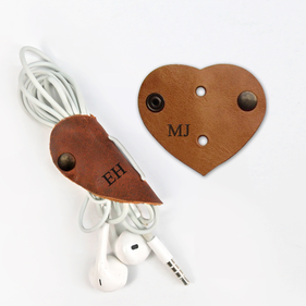 Personalized Heart Leather Headphone Cable Organizer