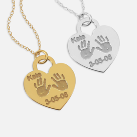 Personalized w/ Name & Date Heart Shaped Baby Hand Print Pendant in Sterling Silver