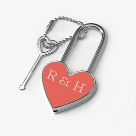 Personalized Heart Shaped Metal Lock