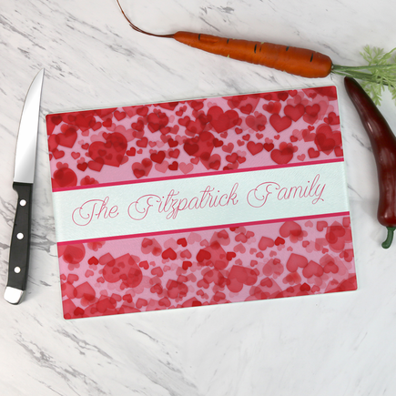 Personalized Hearts Galore Glass Cutting Board
