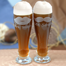 Personalized His & Her Pilsner Glasses Set of Two