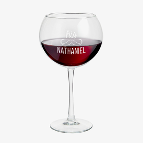 Personalized His or Hers Red Wine Glass