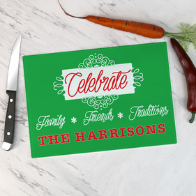 Personalized Holiday Glass Cutting Board