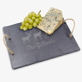 Personalized Holiday Reindeer Slate Tray w/ Jute Hanger