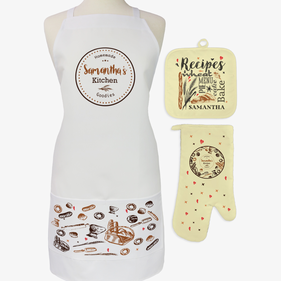 Personalized Homemade Kitchen 3-Piece Apron, Potholder and Oven Mitt Set