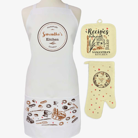 Exclusive Sale - Personalized Homemade Kitchen 3-Piece Apron, Potholder and Oven Mitt Set