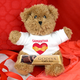 Personalized Honey the Bear Gift Set with Solid Chocolate Bar