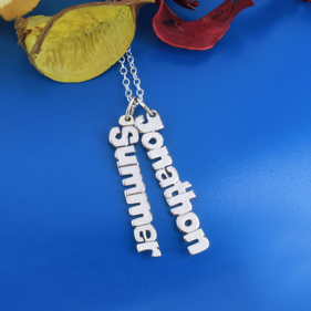Personalized Sterling Silver Set of 2 Vertical Mini Name Necklaces