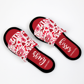Personalized Hugs and Kisses Adjustable House Slippers