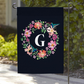 Personalized Hummingbird Wreath Garden Flag