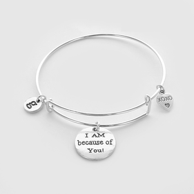 Personalized I AM because of You! Charm Bangle