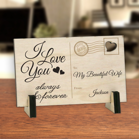 Personalized I Love You Always And Forever Wood Postcard